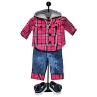 The Queen's Treasures Clothes Outfit & Shoes, Farm Girl Pink Flannel Shirt, Jeans & Denim Shoes for 18-inch Doll