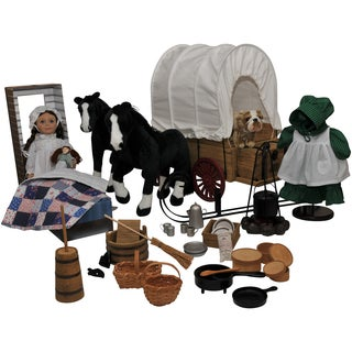 Complete Little House on the Prairie 18 Inch Laura Ingalls Doll and 50-piece Wagon, Sleigh, Horses, & Prairie Accessory Set