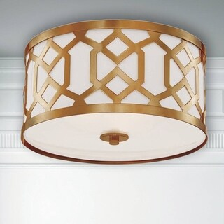 Crystorama Jennings Collection 3-light Aged Brass Flush Mount