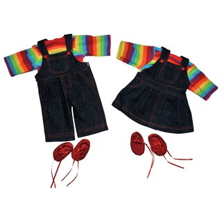 The Queen's Treasures 15-inch Doll Rainbow Skirt & Overalls Outfit for Bitty Twins