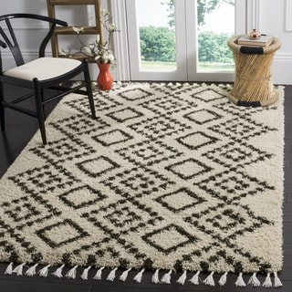 Shop Safavieh Morrocan Fringe Shag Cream Grey Area Rug