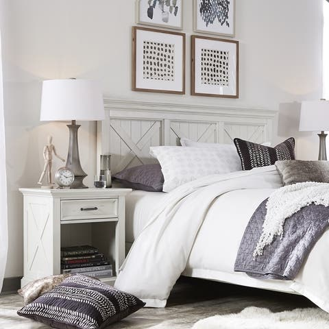 The Gray Barn Riverbone X-detail Queen/ Full Headboard & Nightstand