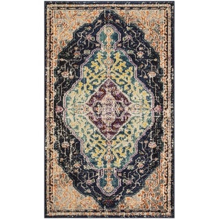 Safavieh Monaco Bohemian Medallion Black/ Blue Distressed Area Rug (3' x 5')
