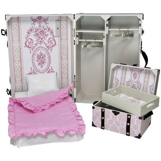 The Queen's Treasures Storage Suitcase Trunk With Murphy Bed, 3 Piece Bedding, Steamer Trunk, 4 Hangers For 18-inch Dolls