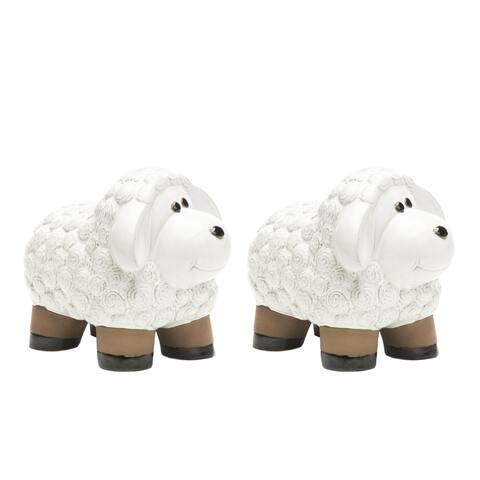 Alfresco Home Medium Ceramic Lamb- Lace White