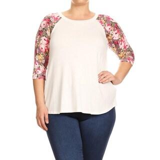 Women's Plus-size Floral Raglan Sleeve Tunic