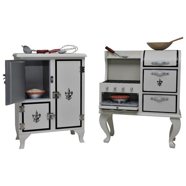 The Queen's Treasures American Vintage Stove, Fridge, Furniture & Food Accessory Set for 18-inch Dolls