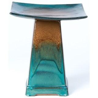 Alfresco Home Large Zen Ceramic Birdbath - Aqua