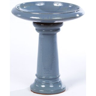 Alfresco Home Ischia Ceramic Birdbath - Cielo Blue