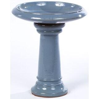 Alfresco Home Ischia Ceramic Birdbath - Cielo Blue