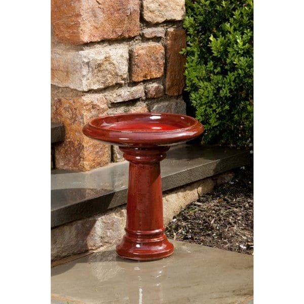 Alfresco Home Ischia Ceramic Bird Bath Island Red