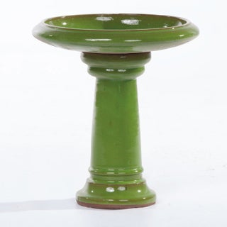 Alfresco Home Ischia Ceramic Bird Bath - Chartreuse