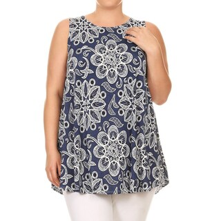 Women's Plus Size Abstract Floral Sleeveless Tunic