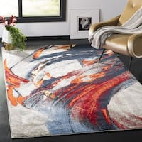 Safavieh Porcello Modern Abstract Grey/ Red Area Rug (3' x 5')