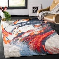 Safavieh Porcello Modern Abstract Grey/ Red Area Rug - 4' x 6'
