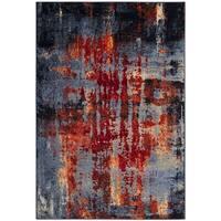 Safavieh Porcello Modern Abstract Blue/ Orange Area Rug - 4' x 6'