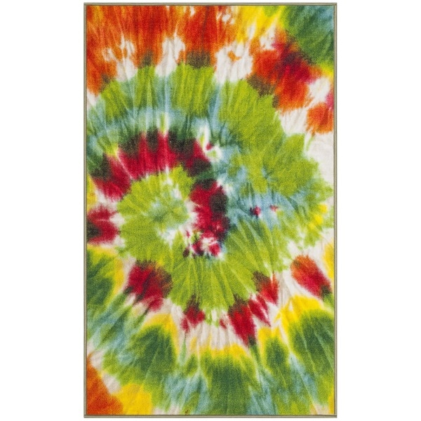 Safavieh Paint Brush Green/ Orange Area Rug - 3' X 5'