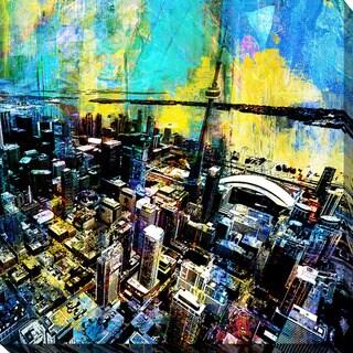PPI Studio 'Toronto Birds Eye 6' Giclee Stretched Canvas Wall Art - Blue