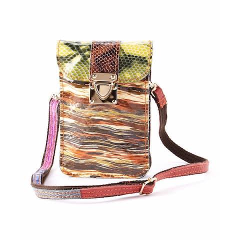 Diophy Mllecoco Neutral-tone Snakeskin Genuine Leather Mini Crossbody Bag
