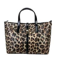Diophy Mllecoco Genuine Leather Leopard Pattern Snap Lock Glossy Design Tote Bag