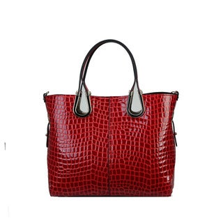 Diophy Genuine Leather Crocodile Texture Tote Bag
