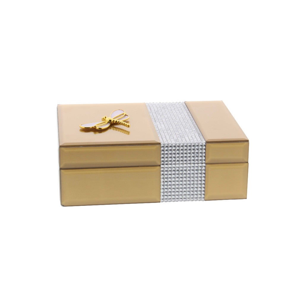 Benzara Snazzy Gold Wood Mirror Jewelry Box (Gold)