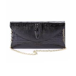 Diophy Genuine Leather Snake Skin Pattern Evening Clutch Accented with Chain Strap