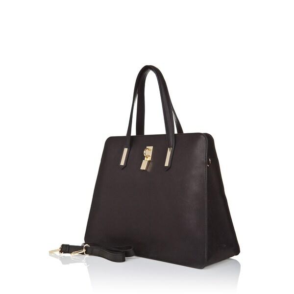 Markese Lock Leather Satchel Handbag