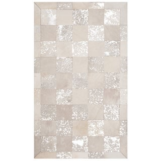 Safavieh Studio Leather Hand-Woven Ivory/ Silver Leather Area Rug (3' x 5')