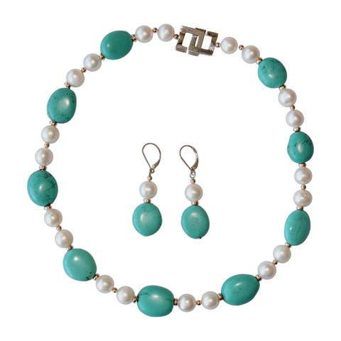 """Turquoise and Baroque Pearl 17"""" Necklace Set"""