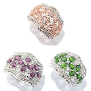 Gemstone & White Zircon Floral Scalloped Wide Band Ring