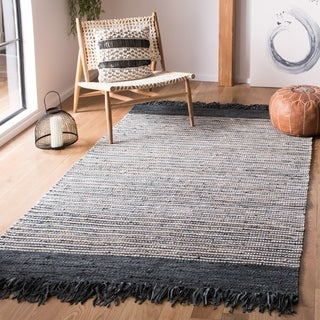 Safavieh Handmade Vintage Boho Leather Zhanna Modern Stripe Leather Rug with Fringe