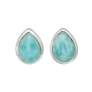 Sterling Silver Larimar Pear Shaped Stud Earrings