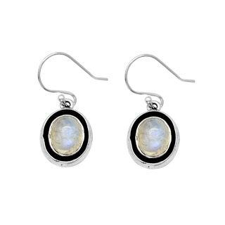 Sterling Silver Oval Moonstone Earring