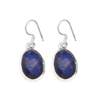 Sterling Silver Oval Checkerboard Cut Lapis Earring