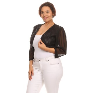 Hadari Women's Plus Size Sexy Open Front Sequin Embellishment Shrug Cardigan