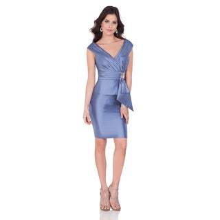 Terani Couture Mikado Short Cocktail Dress with Deep-V Neckline