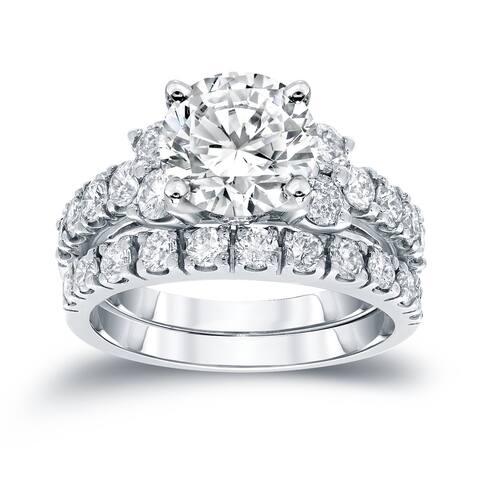 Auriya 3 1/2ctw Round Diamond Engagement Ring Set 14k Gold Certified