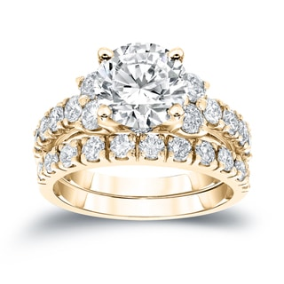 Auriya 14k Gold 3 1/2ct TDW Certified Round Diamond Bridal Ring Set (H-I, I1-I2)