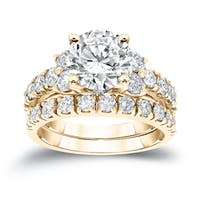 Auriya 14k Gold 3 1/2ct TDW Certified Round Diamond Engagement Ring Set