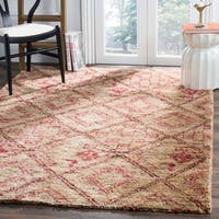 Safavieh Bohemian Transitional Hand-Knotted Natural/ Red Jute Area Rug - 5' x 8'