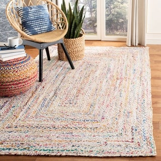 Safavieh Braided Contemporary Hand-Woven Beige/ Multi Cotton Area Rug - 6' x 9'