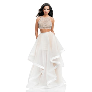 Two Piece Nude and Crystal Prom Gown (Option: Black)