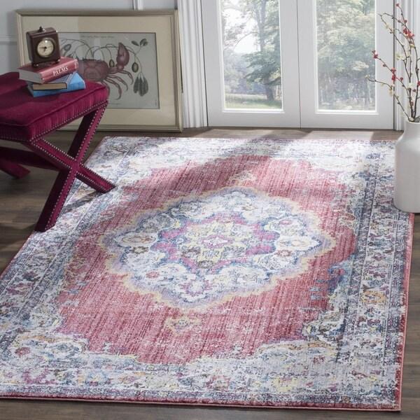 Exceptional Safavieh Bristol Bohemian Pink/ Grey Polyester Area Rug (6u0026#x27; X 9u0026