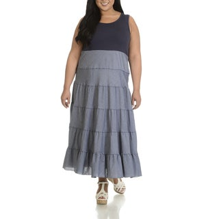 Chelsea & Theodore Women's Plus Size Tiered Maxi Dress