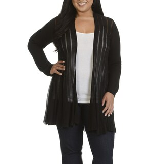 Chelsea & Theodore Plus Size Women's Striped Cardigan