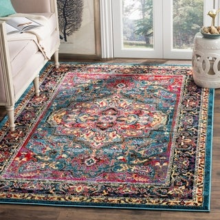 Safavieh Cherokee Transitional Blue/ Pink Area Rug (6' x 9')