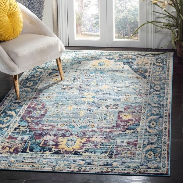 Shop Safavieh Crystal Vintage Teal/ Purple Area Rug