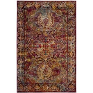 Traditional Distressed Overdyed Oriental Pink Yellow Rug