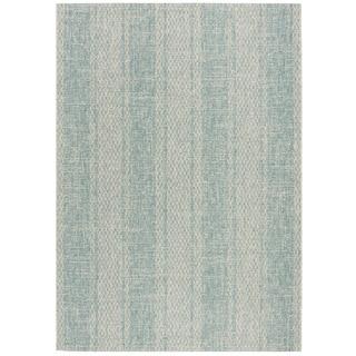 Safavieh Courtyard Nanci Moroccan Indoor/ Outdoor Rug (53 x 77 - Light Grey/Aqua)